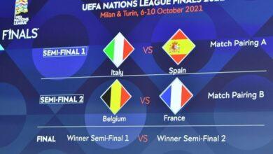 صورة القرعة تضع إيطاليا أمام إسبانيا.. وفرنسا تواجه بلجيكا بالمربع الذهبي لدوري الأمم الأوروبية