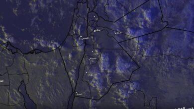 صورة سحب ركامية مليئة بالأمطار تقترب من الأغوار الجنوبية والبحر الميت