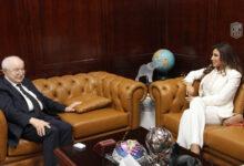 صورة أبوغزاله يستقبل في مكتبه النجمة والمفكرة نجوى كرم